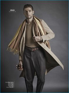 Model Mikus Lasmanis wears a camel coat by Tommy Hilfiger with a Joe Fresh sweater. Mikus also sports Z Zegna trousers with a Hermes scarf, a Louis Vuitton belt, and Coach leather gloves. Mafia, Steampunk, Men Photoshoot, Gq Magazine, Mens Fall, Beard Styles, Editorial Fashion, Mens Fashion, Fashion Menswear