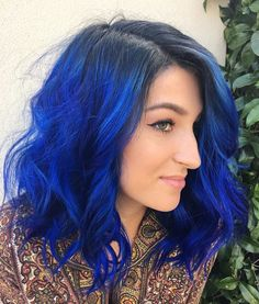 Lace Frontal Hair Blue Wigs Blue Hair On Dark Skin – dianawigs Bright Blue Hair, Ombre Hair Color, Cool Hair Color, Royal Blue Hair, Blue Hair Colors, Blue Black Hair Color, Ombré Hair, Dye My Hair, Emo Hair