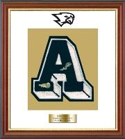 Avon High School in Connecticut Varsity Letter Frame - Showcase your varsity letter in our Newport solid hardwood shadowbox frame in cherry finish with black accents and gold lip with hand embossed Avon High School logo, on our white and gold museum quality matting. A personalized engraved plate is included.