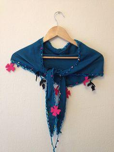 Blue  Scarf with felt flowercrochet lariat by SpecialFabrics