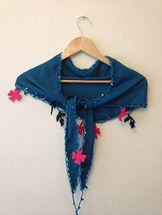 Blue  Scarf with felt flowercrochet lariat by SpecialFabrics