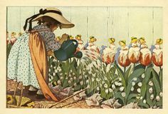 Mary, Mary,Quite Contrary  illustrated by Jessie Willcox Smith . Artist from Philly, PA , USA.  From the book, Mother Goose. Published by H...