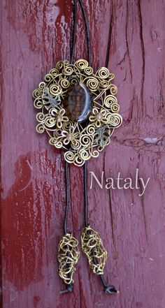 Wire Wrapped Long Leather Cord Pendant Massive by NatalyDesign