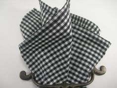 Ginham pocket square Black and white by LeBoutonVert on Etsy, $11.75