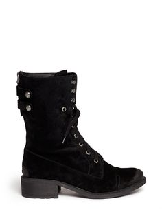 SAM EDELMAN - 'Darwin' suede lace up boots   Black Ankle Boots   Womenswear   Lane Crawford
