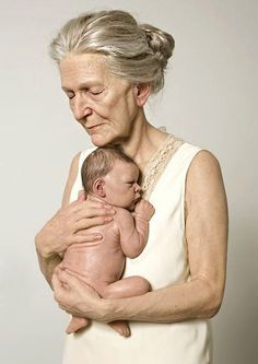 "Sam Jinks hyper-realism sculpture :: No, not a painting or photograph. ""Woman and Child"", sculpted of silicone, silk, and human hair :: 2010"