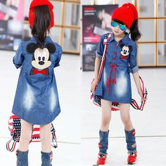 Christmas Sale Girl Dress 2016 New Fashion Girls Baby Jeans Dress Autumn Kids Coat Minnie Mouse Shirt Children Princess Blouse Cute Kids Fashion, Cute Outfits For Kids, Girl Fashion, Spring Fashion, Baby Jeans, Kids Coats, Dresses Kids Girl, Kind Mode, Kids Wear