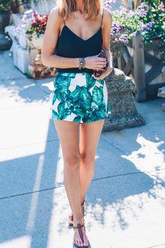 Palm Print Shorts and Silk Cami