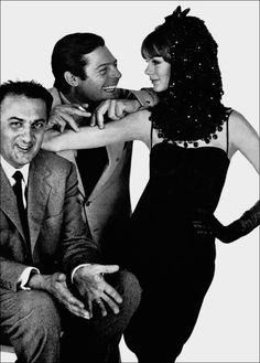 Federico Fellini, Marcello Mastroianni and Jean Shrimpton by David Bailey for Vogue Us 1963