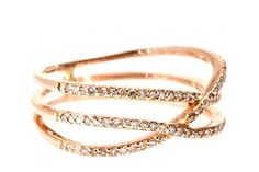 Jacquie Aiche Triple Row 14K Rose-Gold Eternity Ring with White Diamonds, $3222, available at My Theresa. 33 Quirky Engagement Rings For Alt Brides #refinery29  http://www.refinery29.com/61572#slide31