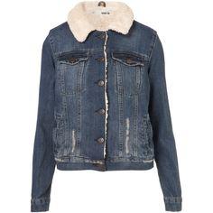 TOPSHOP MOTO Vintage Borg Western Jacket (7.305 RUB) ❤ liked on Polyvore featuring outerwear, jackets, topshop, denim, coats & jackets, mid stone, cowboy jacket, blue jackets, western jacket and vintage jacket
