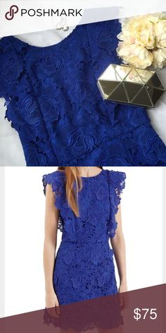🆕 Topshop cobalt scallop lace dress This cobalt Topshop dress has amazing lace appliqué detail and deep v back. Dress is fully lined, 100% polyester, and machine washable. Measurements: 16 inches under arm to under arm; 14.5 in waist; shoulder to bottom hem 35.5 inches. Brand new with tags and never worn. Topshop Dresses