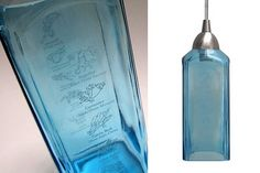 Bombay Sapphire pendant light -- these bottles are sooo pretty. I wish I could diy this.