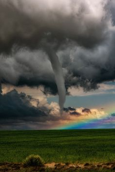 ~~A Tornado in Front of a Rainbow | a rare meteorological event witnessed near Lamar, Colorado | by Jason Vanstry~~
