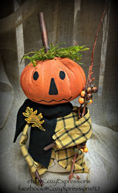 Primitive Pumpkin Head Man Doll by CozyExpressions on Etsy