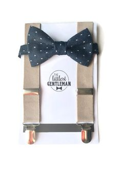 Chambray Denim Boys Bow Tie with tan Suspenders Toddler