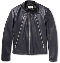 Maison Margiela'a navy leather jacket is a slick and modern alternative to standard black styles. This updated classic is finished with a collarless neck, two-way zipped pockets and internal pockets. Cut for a close fit, it has a quilted lining for warmth that won't feel bulky when layered over sweaters and tees.