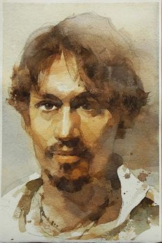 Watercolor by Chien Chung Wei Watercolor Portrait Painting, Watercolor Face, Portrait Paintings, Watercolor Artists, Watercolor Techniques, Portrait Art, Art Paintings, Painting & Drawing, Male Portraits