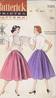 Vintage Released Skirt 1950s Sewing Pattern 7327 Butterick Waist 30 Hip 39 Cut | eBay