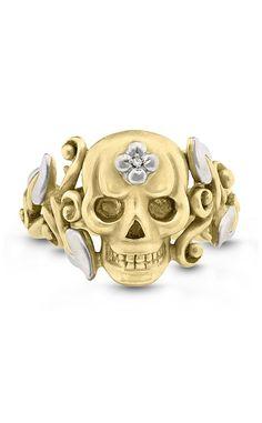 Roses Never Die Medium Skull Ring – Diamond – Barbara Bixby