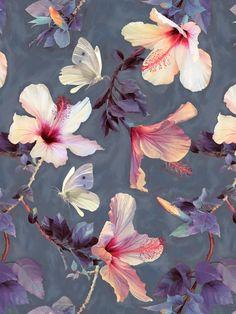 Premium Poster Butterflies and Hibiscus Flowers Juniqe Größe: 90 cm L x 60 cm B Art Floral, Motif Floral, Flower Prints, Flower Art, Pattern Art, Pattern Design, Textures Patterns, Print Patterns, Poster Mural