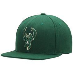fc09efeb6a126 Men s Mitchell   Ness Hunter Green Milwaukee Bucks Current Logo Wool Solid Snapback  Adjustable Hat
