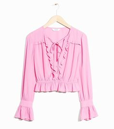 & Other Stories Nostalgic Frills Peplum Blouse in Pink Summer Fashion Outfits, Pink Outfits, Girl Fashion, Blouse Peplum, Ruffle Blouse, Peplum Tops, Ruffle Top, Blouses Roses, Pink Tops