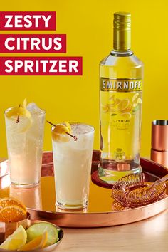 Add a little zing to your summer spritzer cocktails with one of our Citrus Flavors. Trust us, your tastebuds will thank you. Zesty Citrus Spritzer Recipe: 2 oz Zesty Citrus Flavor (Smirnoff Lime, Citrus, or Orange), 1 oz lemonade, 0.5 oz club soda, 1 tbsp honey. Combine ingredients over ice. Garnish with lemon wedge.