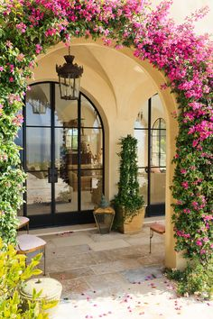 Paul Brant Williger, Architect Inc. - Loggia Arch Detail with Bougainvillea