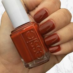 "*BPS Trend Alert* Burnt-orange nail polish is the hottest new color for fall! Essie's ""Playing Koi"" is our go-to flirtatious orange rust nail polish this season 🎃🍃🍂 • Pick one up today for only $7.49 at www.beautyplussalon.com"