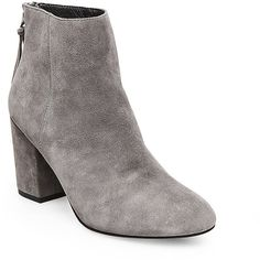 Steve Madden Women's Cynthia Booties ($130) ❤ liked on Polyvore featuring shoes, boots, ankle booties, ankle boots, grey suede, gray ankle boots, suede ankle booties, grey ankle boots, grey booties and high heel ankle boots