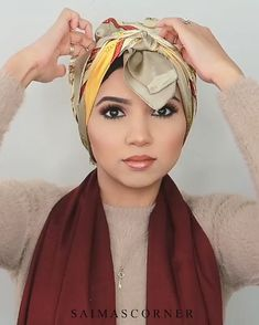 Hijab Styles 639300109590573482 - Source by amelkhedhir Turban Hijab, Turban Mode, Hair Turban, Turban Outfit, Head Scarf Tutorial, Turban Tutorial, Hijab Style Tutorial, Hair Wrap Scarf, Hair Scarf Styles