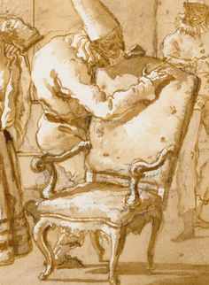 Punchinello Is Helped to a Chair (detail), Giovanni Domenico Tiepolo, about 1791