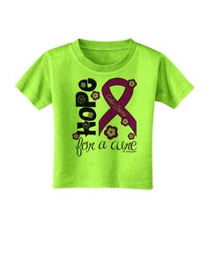 TooLoud Hope for a Cure - Purple Ribbon Crohn's Disease - Flowers Toddler T-Shirt