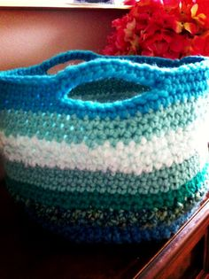 Crochet Basket (Ombre Sea). This would be cool to make to put my other crochet bits in.