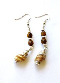 Just in: Sea Shell  Earrings, Tigers Eye Beaded Gemstone Beach Dangle Earrings, Brown Earrings https://www.etsy.com/listing/286825237/sea-shell-earrings-tigers-eye-beaded?utm_campaign=crowdfire&utm_content=crowdfire&utm_medium=social&utm_source=pinterest