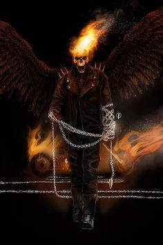 Ghost Rider Digital Painting by Riccardo-Fasoli