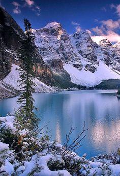 First Snow, Moraine Lake, Banff National Park, Alberta, Canada