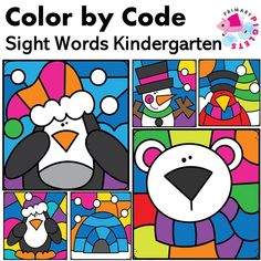 Color by Sight Words! Color by Code!WINTER COLOR BY SIGHT WORDS is a fun way to do Color by Code while practicing sight words. These… Second Grade Sight Words, Sight Word Practice, Kindergarten Language Arts, Kindergarten Math Activities, Listening Activities, Sight Word Coloring, Reading Buddies, Word Family Activities, Sight Word Worksheets