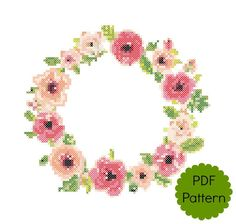 Floral Border Cross Stitch Pattern | PDF Modern Counted Cross Stitch Chart | Wall Decor | Instant Download | Pretty Flowers by ForeverXstitch on Etsy
