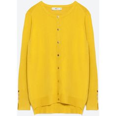Zara Round Neck Cardigan ($30) ❤ liked on Polyvore featuring tops, cardigans, lemon yellow, zara cardigan, zara top, yellow top, cardigan top and yellow cardigan