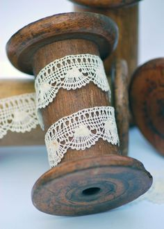 Antique French handmade lace. I might try staining some of my old wooden spools :)