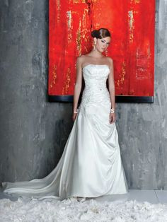 Taffeta Strapless Gown with Rouched Bodice and Asymmetrically Draped Skirt Adorned Dresses