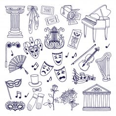 Theatre illustrations set. opera and ballet vector symbols isolate on white Premium Vector
