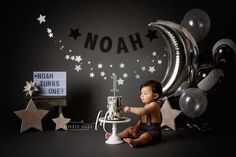 Leandros Luxe Newborn session baby boy first birthday , stars, star wars theme, black and silver came smash , lovely. Baby Cake Smash, 1st Birthday Cake Smash, Baby Boy First Birthday, Birthday Star, Baby Boy Cakes, First Birthday Photos, Smash Cakes, Birthday Ideas, Baby Boy Birthday Themes