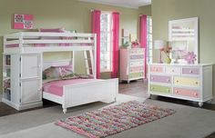 The Riley II White Furniture Kids Collection | Furniture.com. White pine solid loft bed with full bed and bookcase.