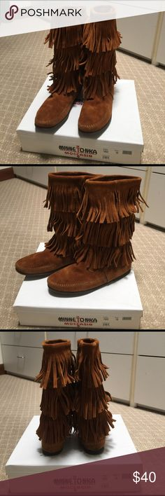 "Women's Minnetonka 3 Layer Fringe Boots Three tiers of fringe cover the tall shaft of a flat suede boot, trimmed with whipstitching along the seams for subtle detail. Approx. boot shaft height: 11 1/2""; 15"" calf circumference. Suede upper and lining/synthetic sole. WORN A FEW TIMES. GREAT CONDITION. Shoes Moccasins"