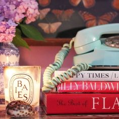 Nightstand styling - love the old timey phone. that would be a cute accessory, even though we'd (obviously) never use it