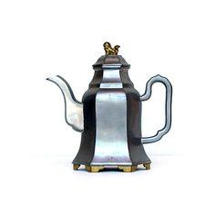 Chinese Pewter Teapot Hong Kong 1910 -1920s Antique Pewter & Brass Teapot