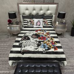 Featherweight Skull Bedding Bright Flower & Skull by InkandRags